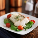 Broiled Halibut with Green Harissa Sauce